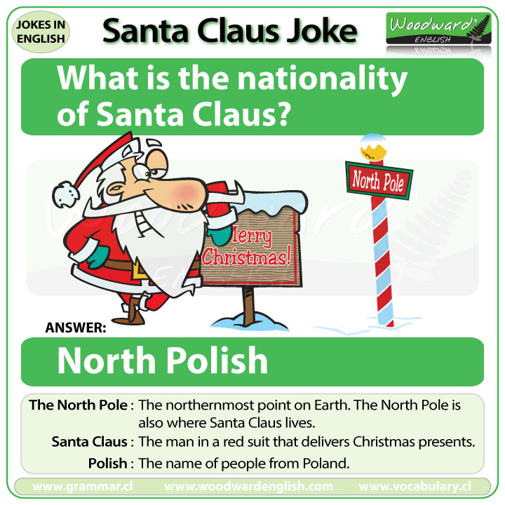 A joke in English about the nationality of Santa Claus