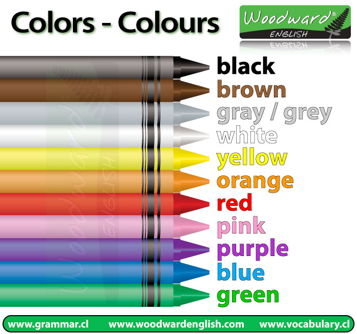 Different colours in English
