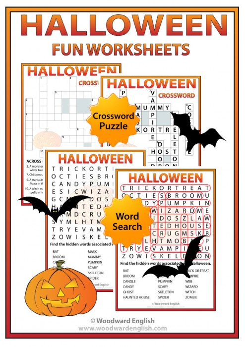 Halloween Crossword and Word Search for learning English