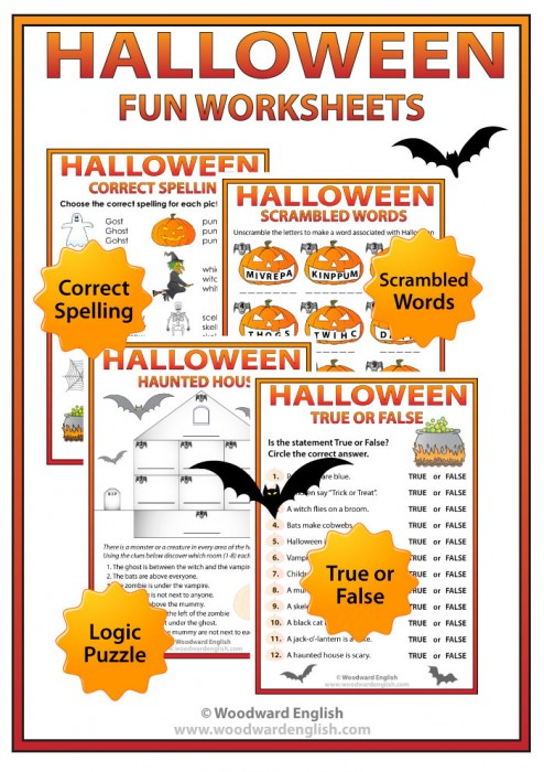 Printable Halloween Worksheets for learning English - Spelling, True or False, Scrambled Words, Puzzle.