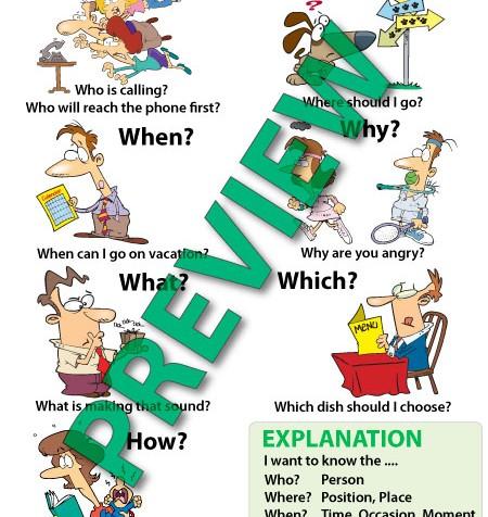 English Question Words Cartoon Chart