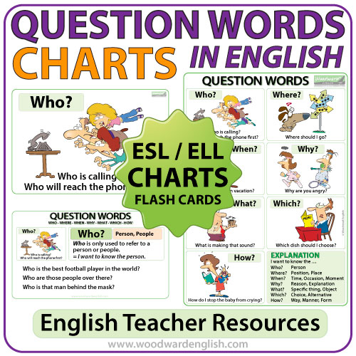 Question Words in English Wall Charts and Flash Cards - ESL English Teacher Resources