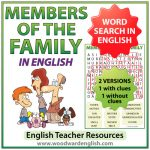 Family members in English Word Search