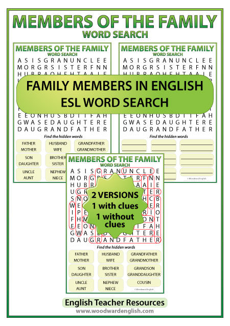 Members of the Family in English Word Search