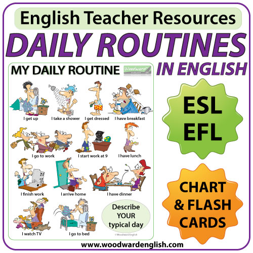 Daily Routines in English – Chart – Flash Cards | Woodward