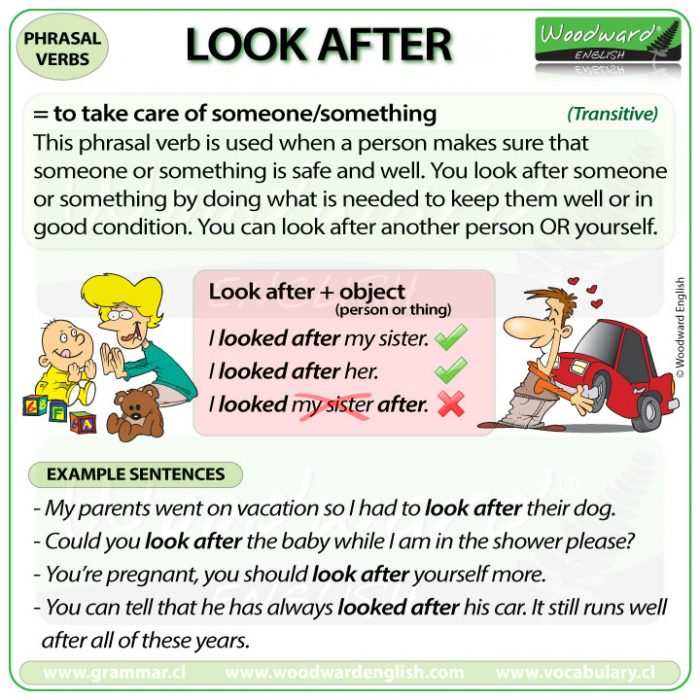 LOOK AFTER - Meaning and examples of this English Phrasal Verb