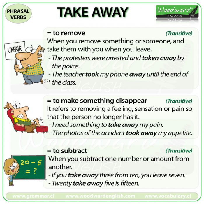 TAKE AWAY - Meanings and examples of this English Phrasal Verb