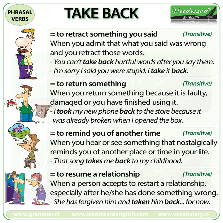 TAKE BACK - Meanings and examples of this English Phrasal Verb