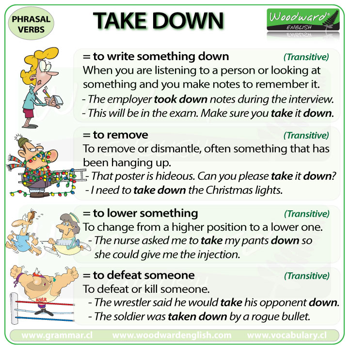 TAKE DOWN - Meanings and examples of this English Phrasal Verb