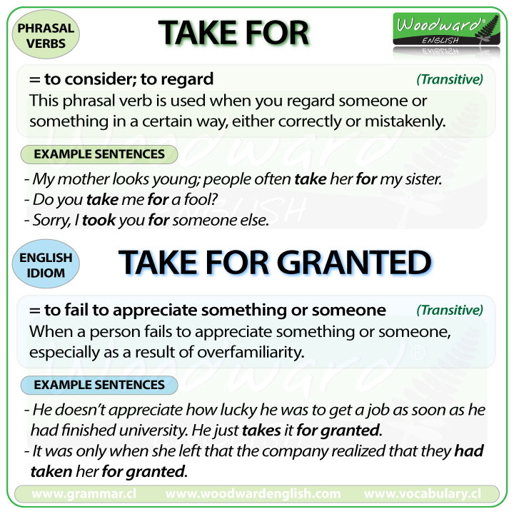 TAKE TO - Meanings and examples of this English Phrasal Verb as well as the meaning of TAKE FOR GRANTED.