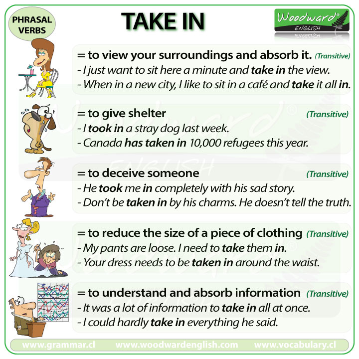 TAKE IN - Meanings and examples of this English Phrasal Verb
