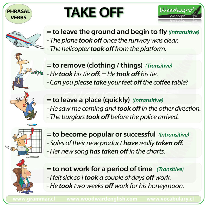 TAKE OFF - Meanings and examples of this English Phrasal Verb