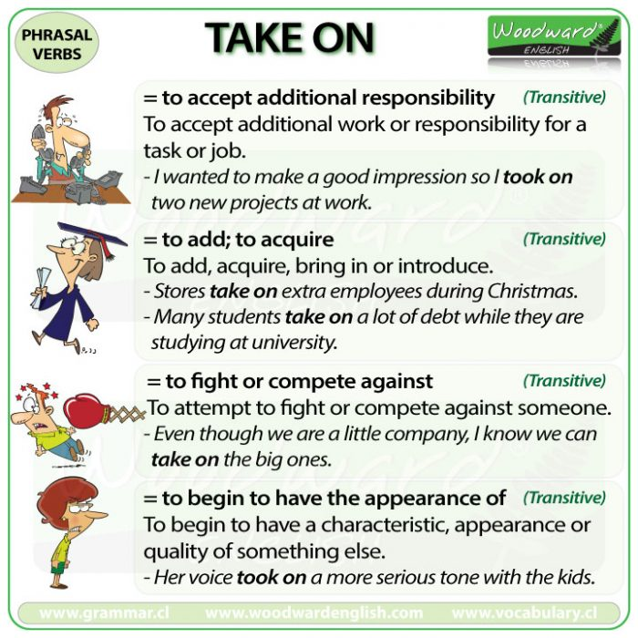 TAKE ON - Meanings and examples of this English Phrasal Verb