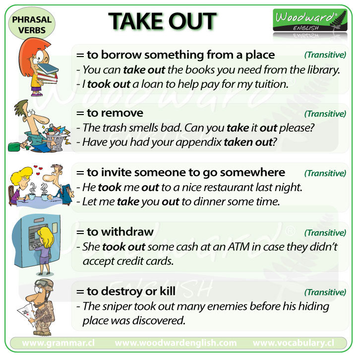 TAKE OUT - Meanings and examples of this English Phrasal Verb
