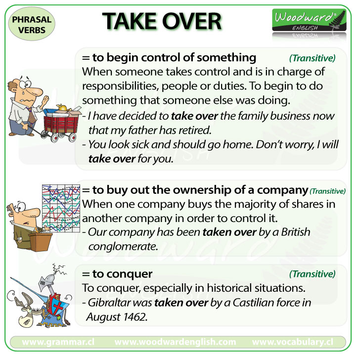 TAKE OVER - Meanings and examples of this English Phrasal Verb