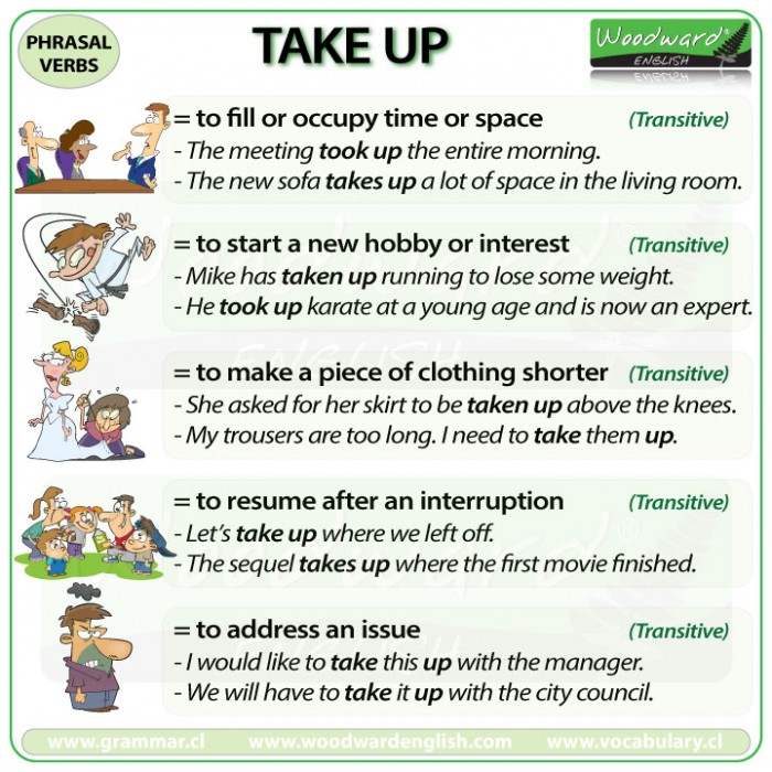 TAKE UP - Meanings and examples of this English Phrasal Verb