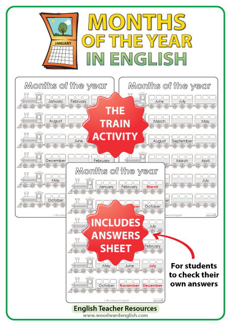 Months in English Worksheets - Fill the Blanks of the Train Activity