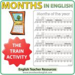 Months of the Year in English Worksheets - The Train Activity