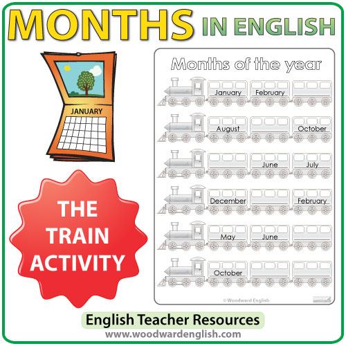 Months in English – Train Worksheet | Woodward English