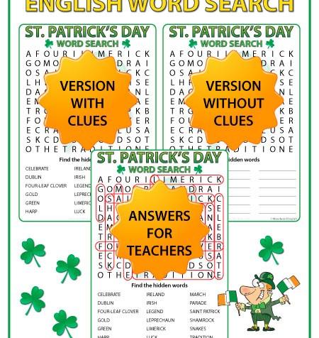 Saint Patrick's Day - English Word Search