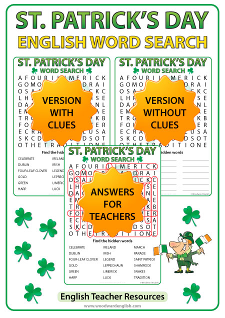 Saint Patrick's Day - English Word Search