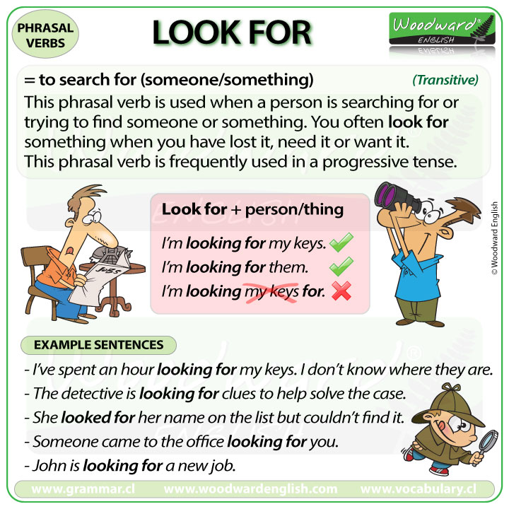 LOOK FOR - Meaning and examples of this English Phrasal Verb