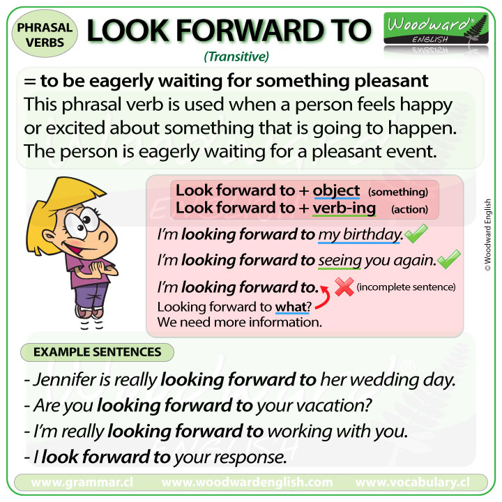 LOOK FORWARD TO - Meaning and examples of this English Phrasal Verb