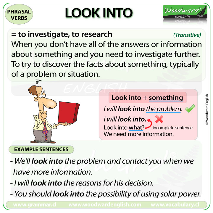LOOK INTO - Meaning and examples of this English Phrasal Verb