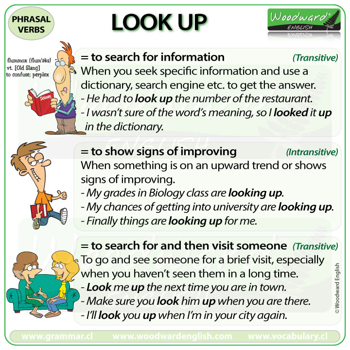 LOOK UP - Meanings and examples of the English Phrasal Verb LOOK UP