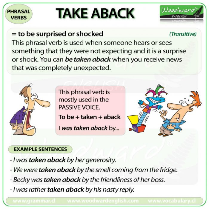 TAKE ABACK - Meaning and examples of this English Phrasal Verb