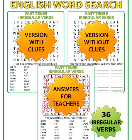 English past tense irregular verbs - Word search