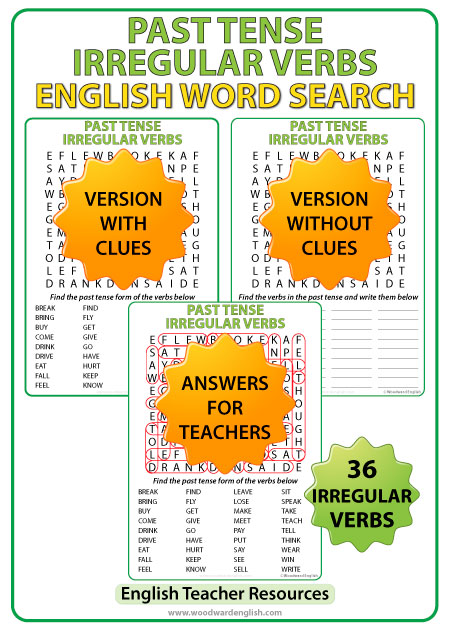 English past tense irregular verbs - Word search