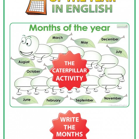 Months of the Year in English - The Caterpillar activity - ESL / EFL Teacher Resource