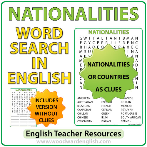 Word Search in English containing 21 nationalities.