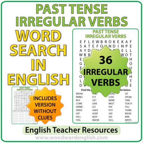 Past Tense Irregular Verbs Word Search Woodward English