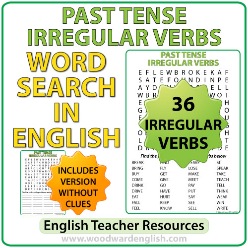 Past tense irregular verbs in English - Word search
