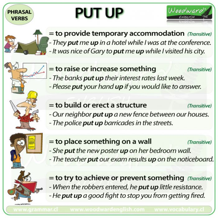 PUT UP - Meanings and examples of the English Phrasal Verb PUT UP