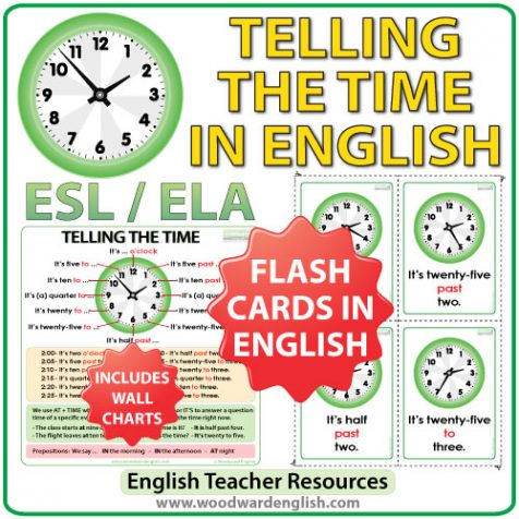 Flash Cards and Charts for Telling the Time in English