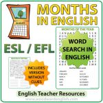 Months in English - Word Search