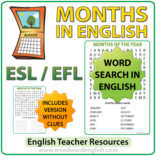 ... word search in english containing the months of the year buy this now