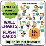 English Subject Pronouns Chart and Flash Cards - ESL Teacher Resource
