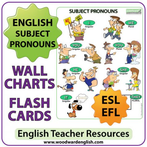 English Subject Pronouns Chart and Flash Cards - ESL Teacher Resource