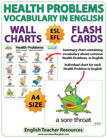 Health Problems ESL Vocabulary Charts - English Teacher Resources