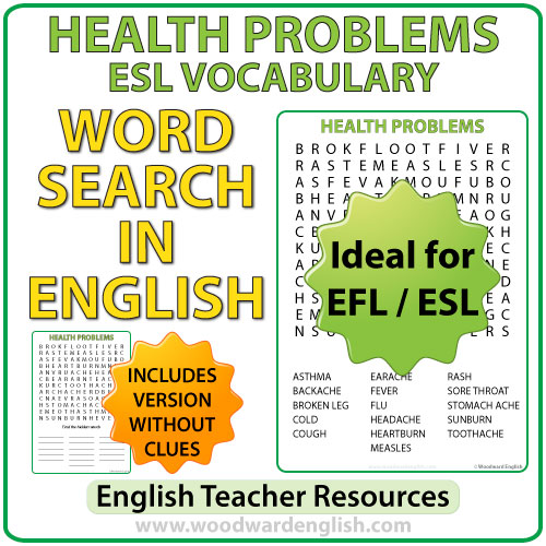 Health Problems in English - ESL Word Search