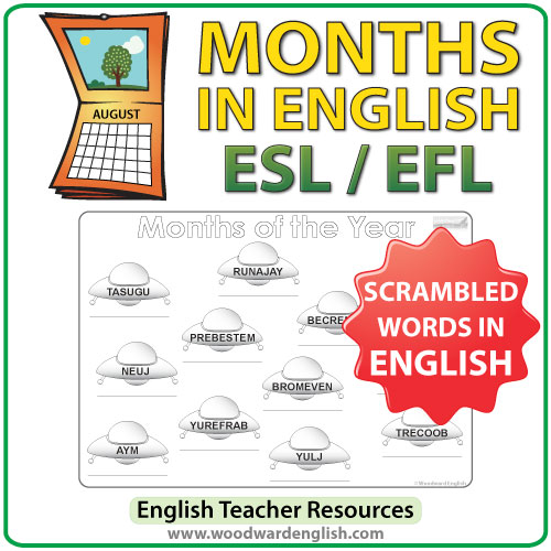 Months of the Year in English - UFO Worksheet