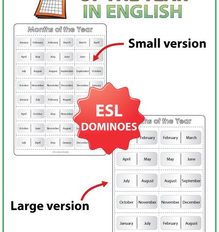English Months of the Year Dominoes - ESL/EFL Teacher Resource