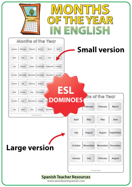 English Months of the Year Dominoes - ESL/EFL Teacher Resource