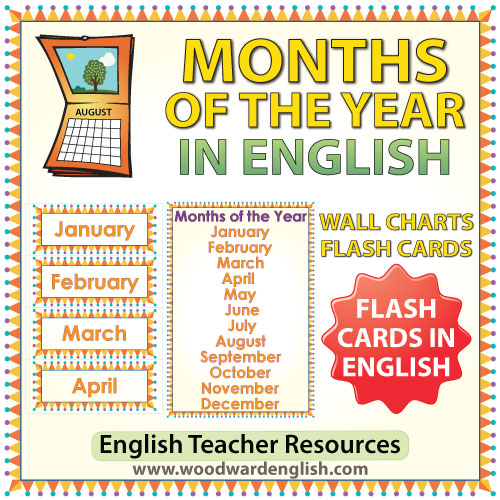English Months of the Year – Flash Cards / Charts | Woodward English