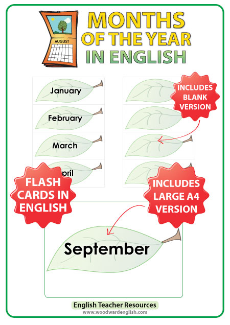 English Months of the Year - ESL Flash Cards - Leaf Design