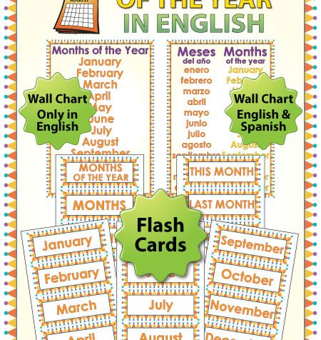 English Months of the Year - ESL Flash Cards / Charts